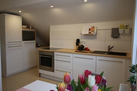 Küche mit Spülmaschine, Backofen, Herd und Mikrowelle