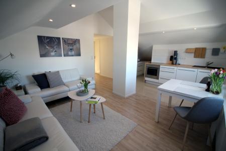 Wohnzimmer mit Blick auf Essbereich und Küche